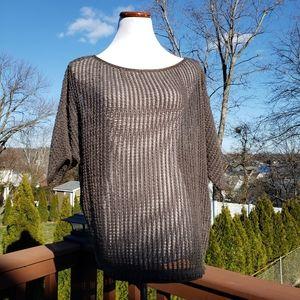 SW3 BESPOKE Green Brown Open Knit Sweater Top Sz M